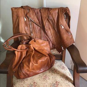 Cole Haan Bags - Cole Haan cognac brown distressed leather hobo